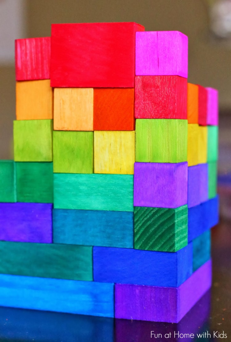 DIY rainbow wooden blocks (via funathomewithkids)