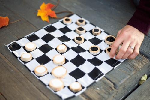 DIY rustic checkers game
