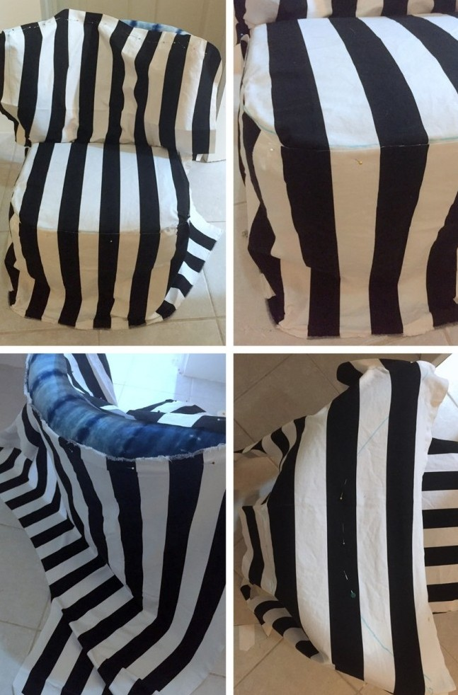 Picture Of easy diy striped chair slipcover  2