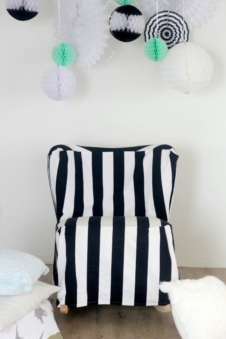 Easy DIY Striped Chair Slipcover