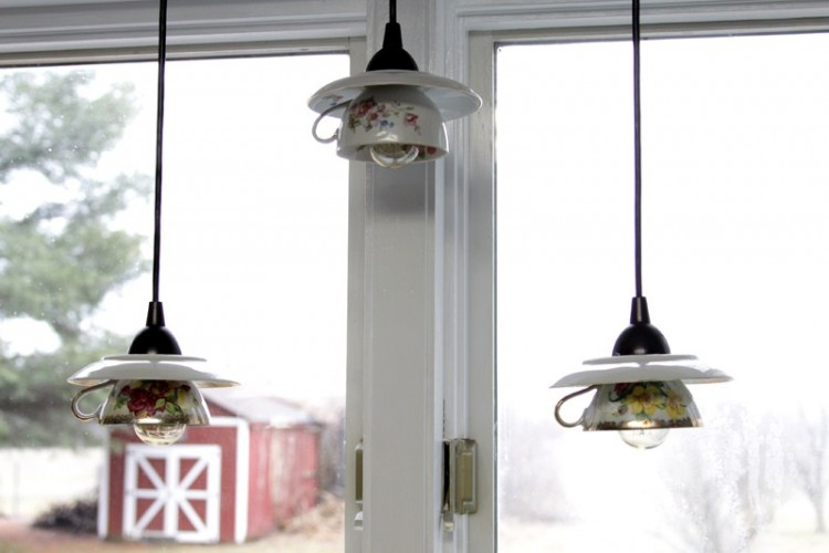 Eye-Catchy DIY Teacup Pendant Light Shades