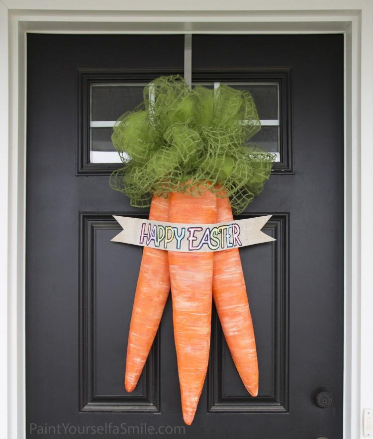 DIY carrot door wreath (via paintyourselfasmile)