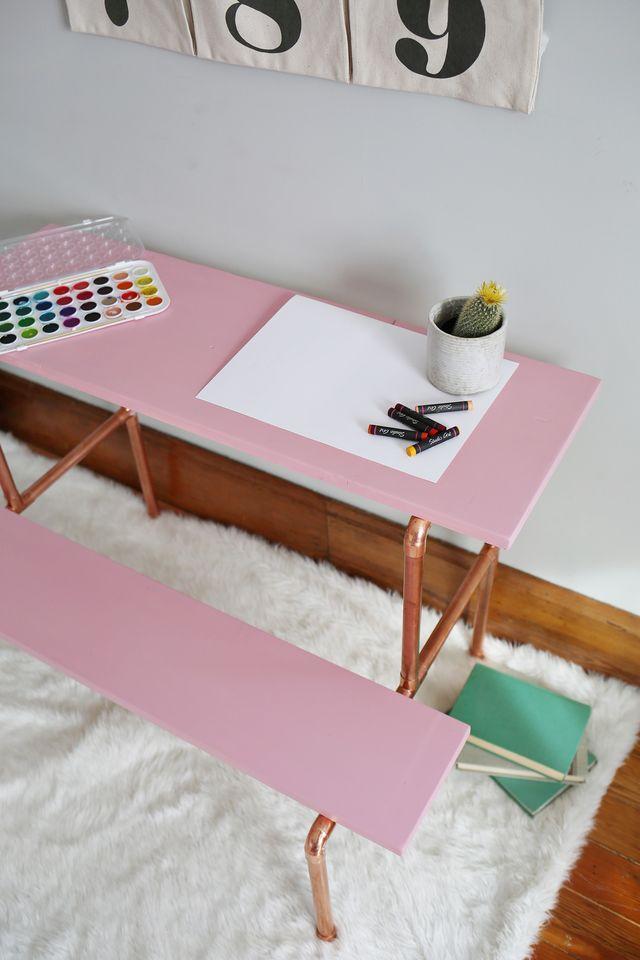 Picture Of stylish diy copper pipe child desk  10