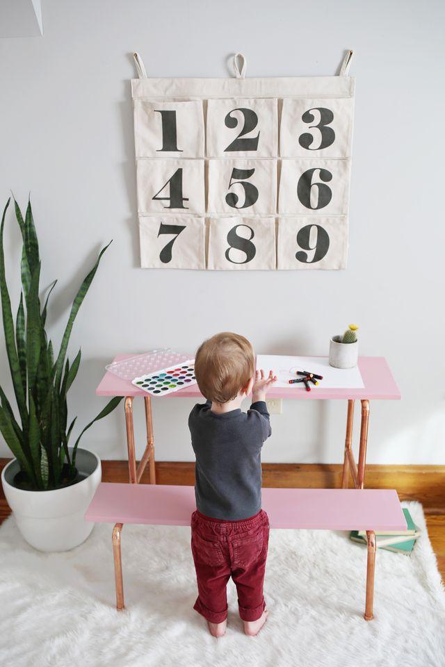 Picture Of stylish diy copper pipe child desk  2