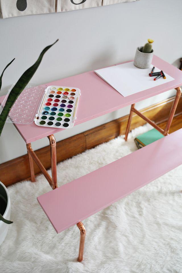 stylish diy copper pipe childu0027s desk