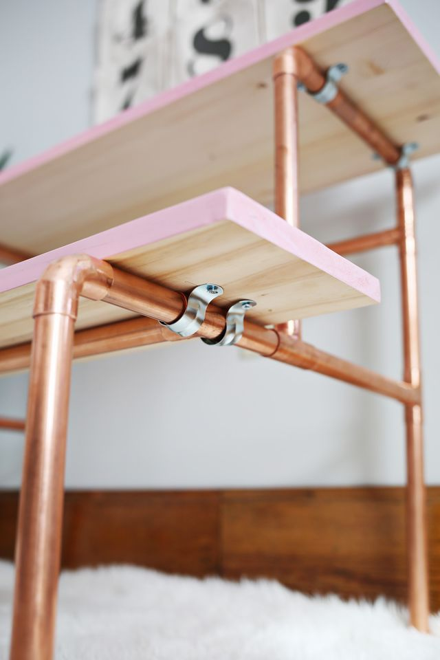 Stylish Diy Copper Pipe Child S Desk Shelterness