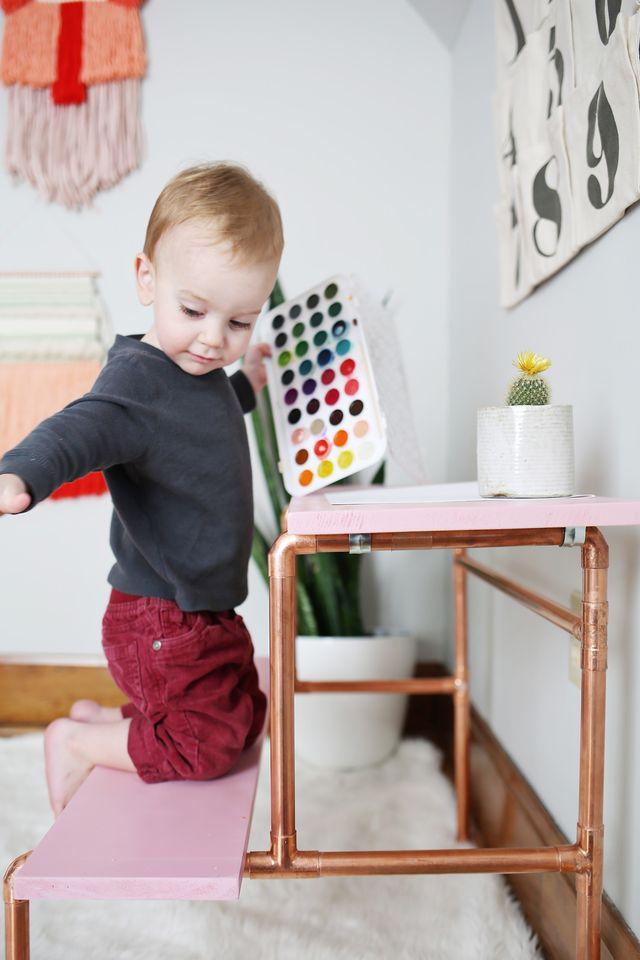 Picture Of stylish diy copper pipe child desk  9