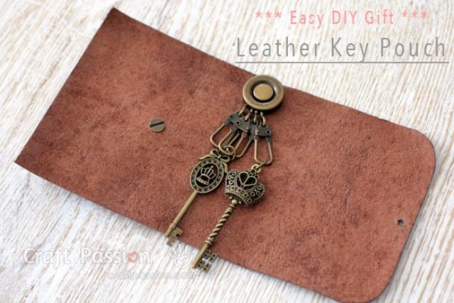 Stylish DIY No Sew Leather Key Pouch