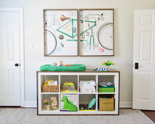 DIY changing table with storage (via younghouselove)