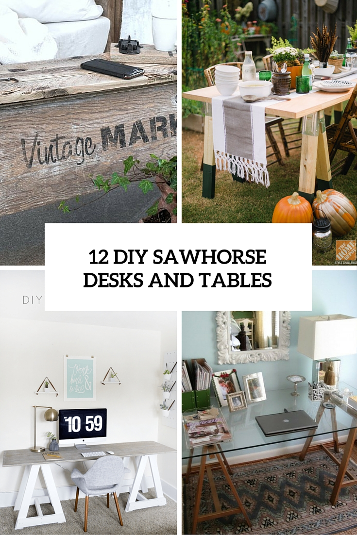 12 Rustic-Inspired DIY Sawhorse Tables And Desks