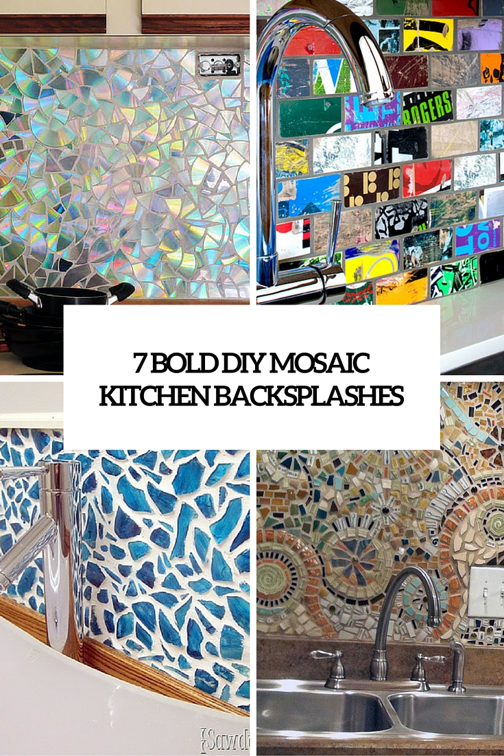 Kitchen Backsplash Mosaic 7 cute and bold diy mosaic kitchen backsplashes - shelterness