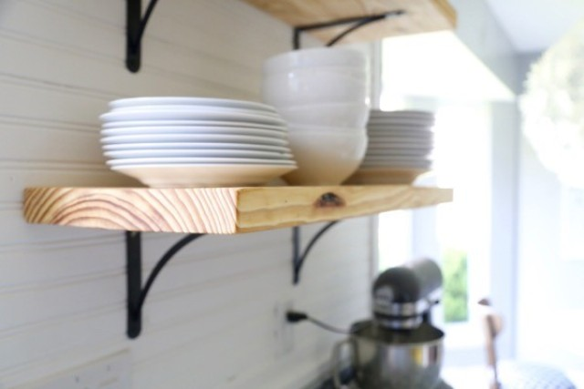 Airy Looking Diy Kitchen Open Shelving Shelterness