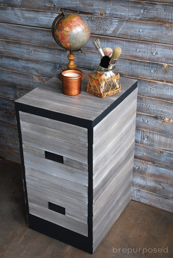 DIY wood covered cabinet (via brepurposed)