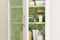 DIY wallpapered medicine cabinet