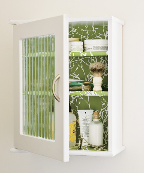 DIY wallpapered medicine cabinet