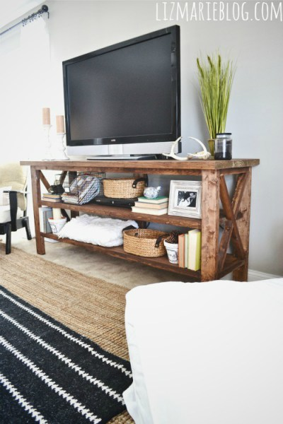 Picture Of DIY Rustic Wood TV Console