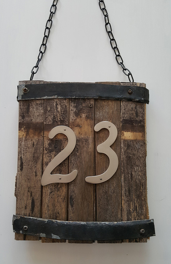 DIY rustic number sign