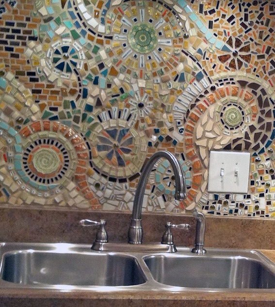 7 Cute And Bold DIY Mosaic Kitchen Backsplashes - Shelterness