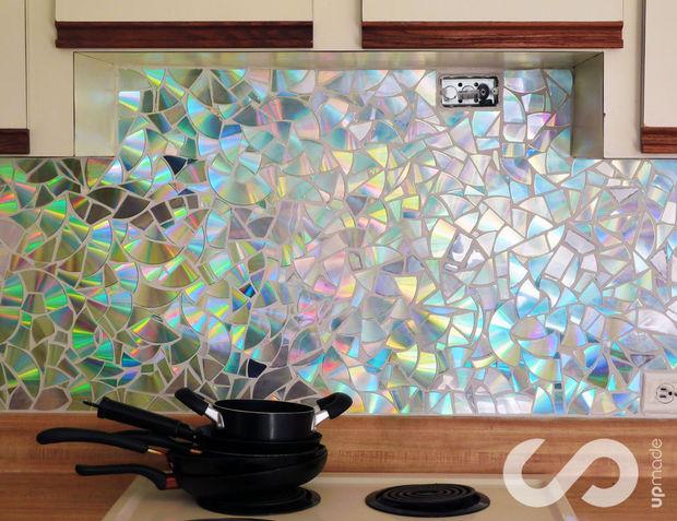 DIY old CD mosaic backsplash (via instructables)