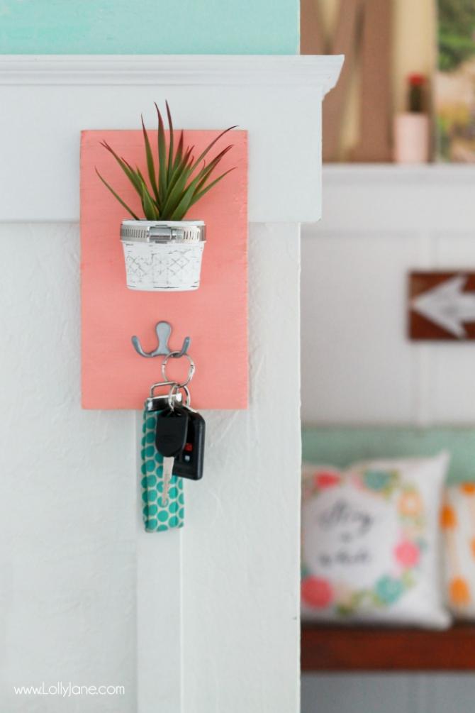 Cute DIY Faux Succulent Key Holder