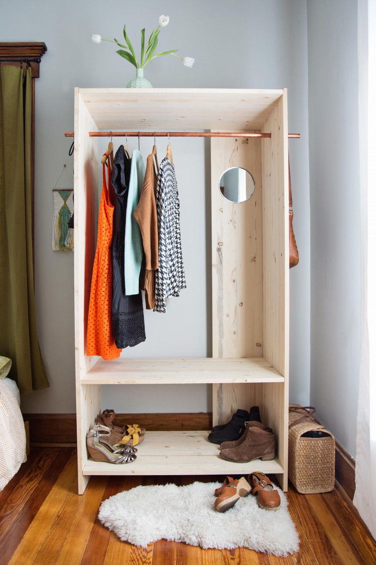 Diy modern wooden wardrobe with copper details shelterness Build your own bedroom wardrobes
