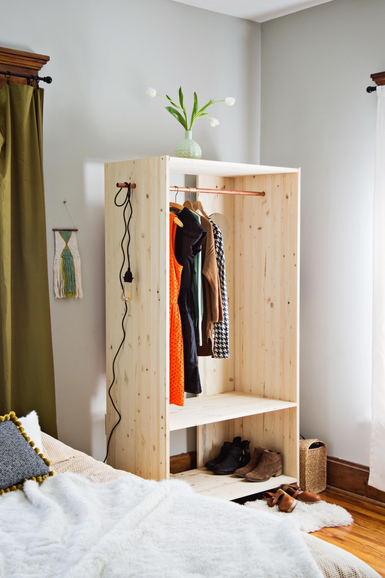 Diy modern wooden wardrobe with copper details shelterness for How to make wardrobe closet