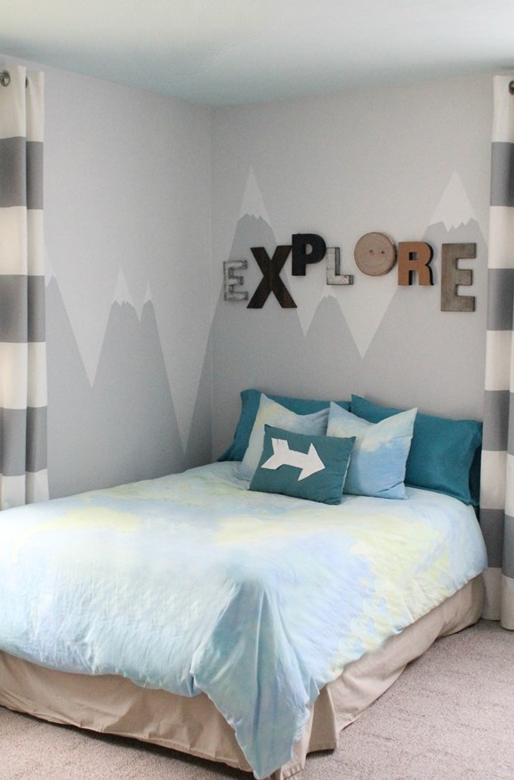 Diy mountain wall mural for a kids 39 room shelterness Kids room wall painting design