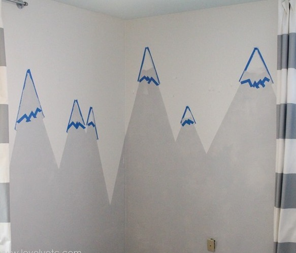 Picture Of diy mountain wall mural for a kids room  4