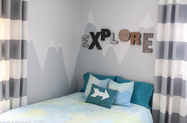 Picture Of diy mountain wall mural for a kids room  7