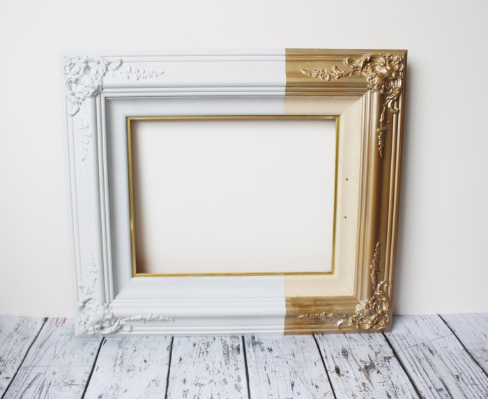 Diy Paint Dipped Frame In White And Gold Shelterness
