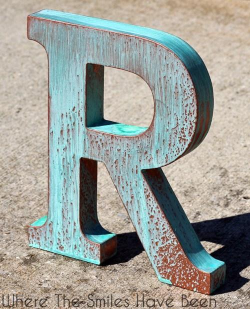 DIY faux copper letter (via wherethesmileshavebeen)