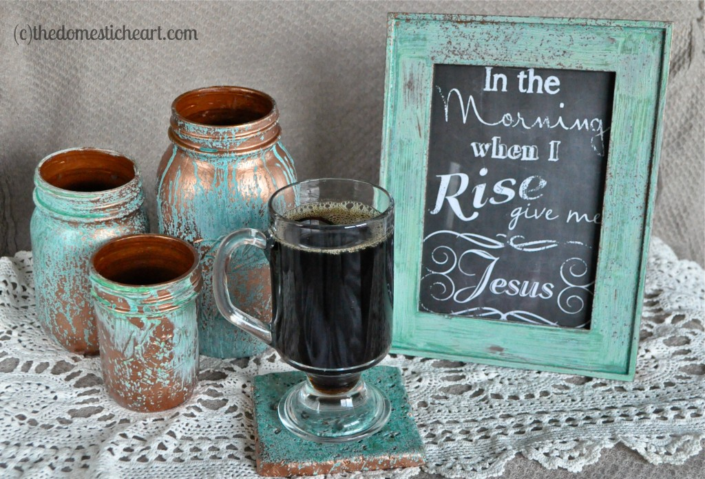 DIY copper blue patina frame  via thedomesticheart. 12 DIY Patina D cor Pieces To Add A Vintage Touch   Shelterness