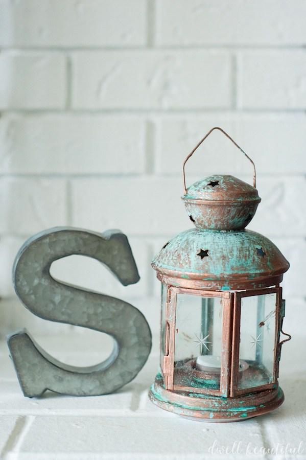 DIY patina lantern (via dwellbeautiful)