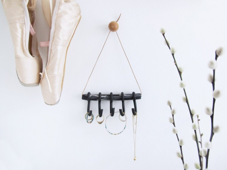 DIY Polymer Clay Jewelry Holder With Hooks