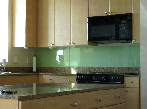 DIY solid frosted glass backsplash (via ikeahackers)