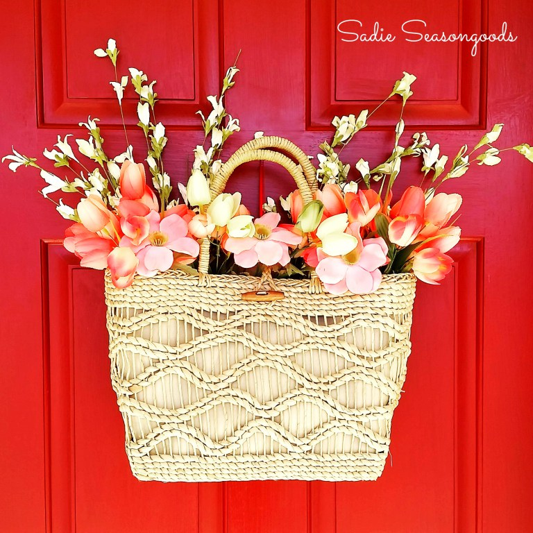 Picture Of diy spring straw tote door decor  5