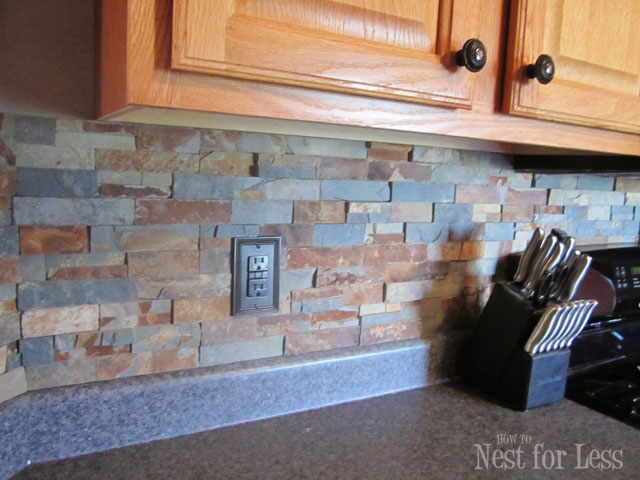 DIY Stone Backsplash (via Howtonestforless)