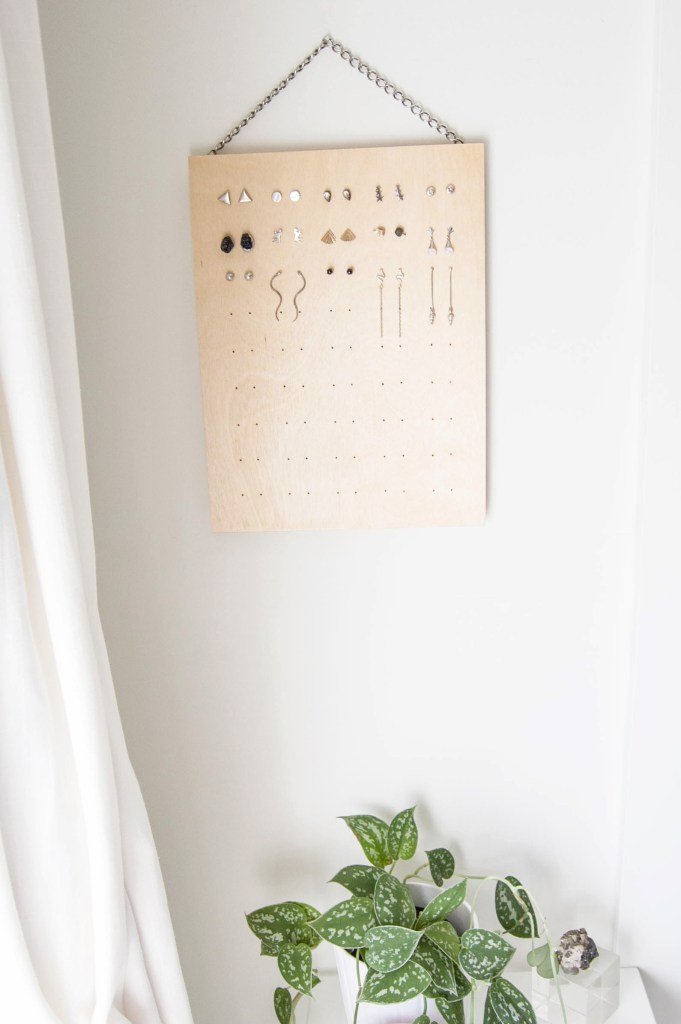 DIY Stud Earring Rack From Plywood