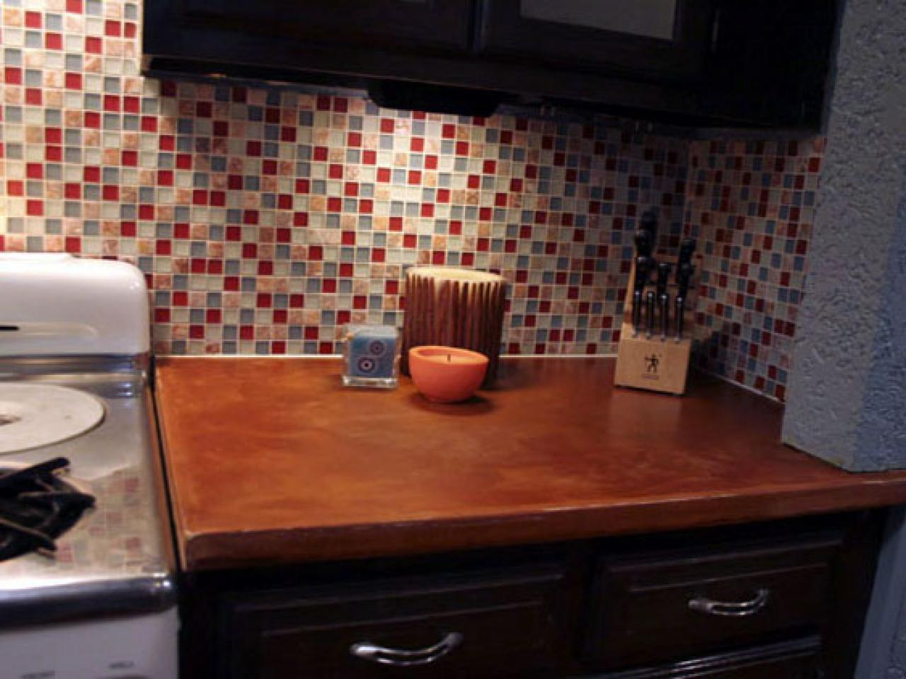 DIY colorful tile backsplash