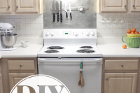 DIY faux subway tile backsplash