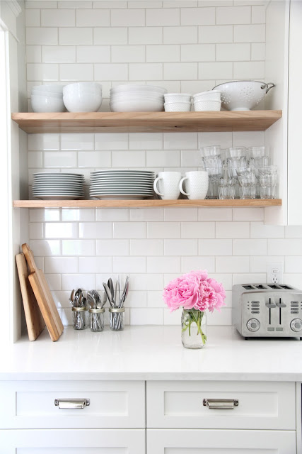 diy subway tile backsplash via blog