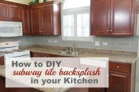 DIY grey tile backsplash