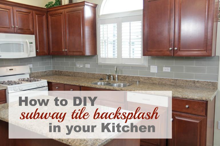 DIY grey tile backsplash