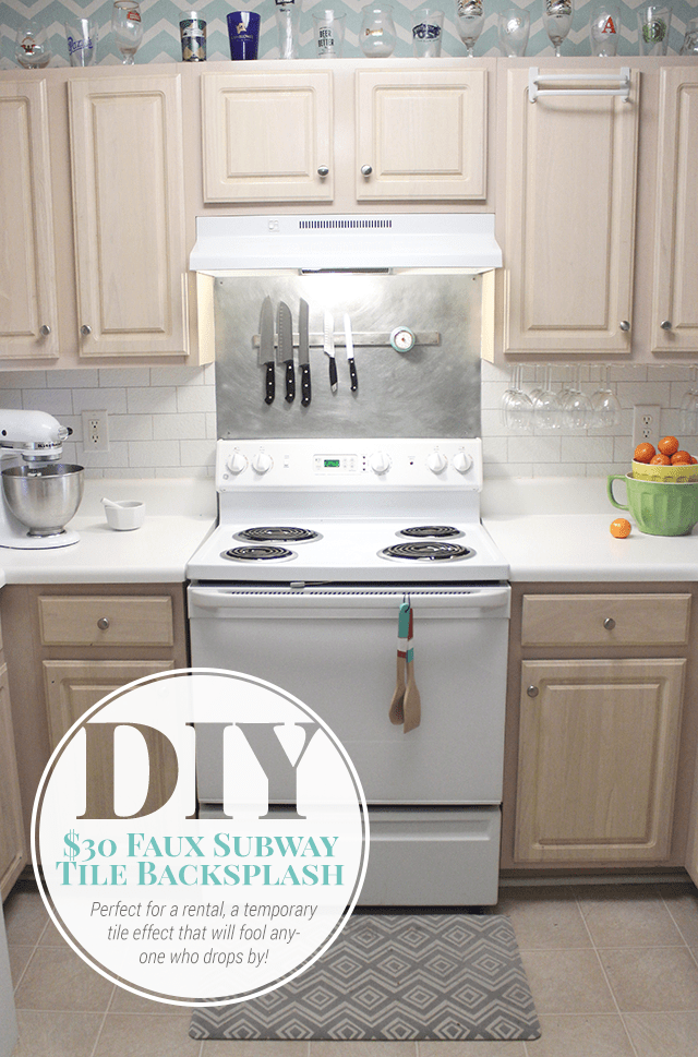 Good DIY Faux Subway Tile Backsplash (via Shrimpsaladcircus)