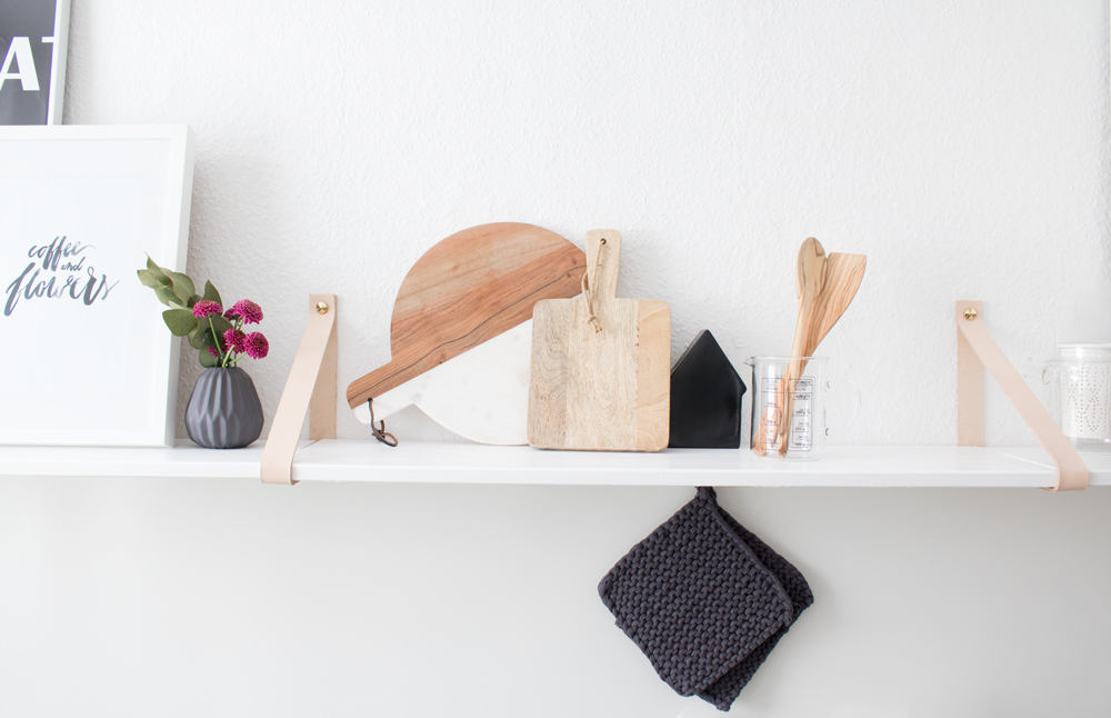 Picture Of easy diy kitchen shelf with leather straps  1