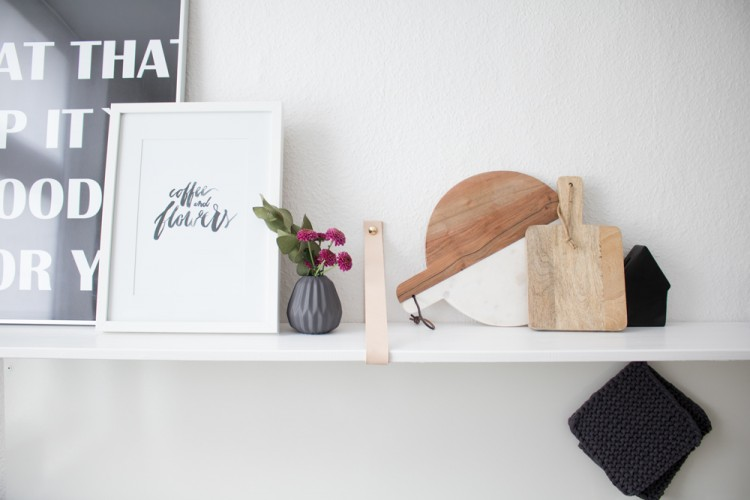 Easy DIY Kitchen Shelf With Leather Straps
