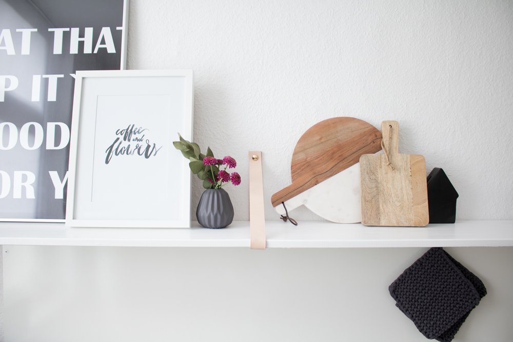 Picture Of easy diy kitchen shelf with leather straps  5