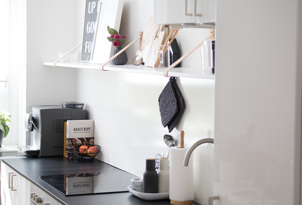 Picture Of easy diy kitchen shelf with leather straps  7