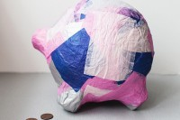 DIY paper mache piggy bank