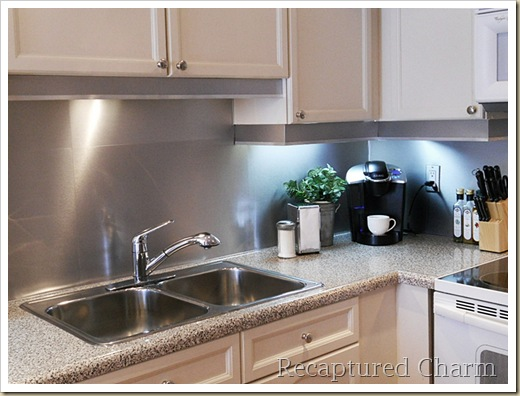 Picture Of Diy Modern Steel Backsplash